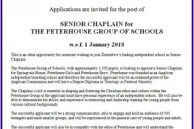 Senior Chaplain for Peterhouse Group of Schools for 2018